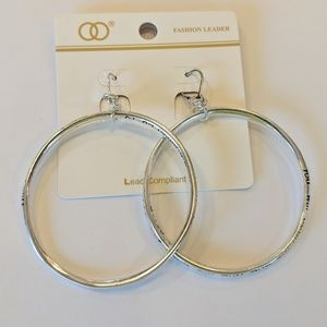 Jewelry - Silver Tone Hoop Earring with Scripture